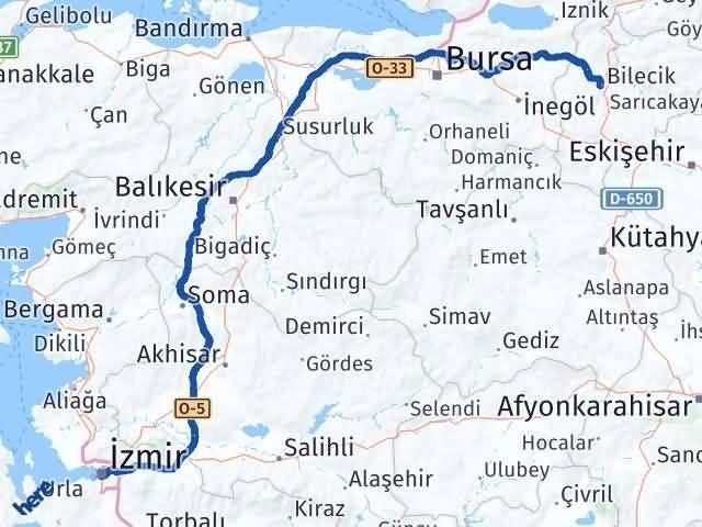 İzmir Konak   Bilecik Arası Kaç Km? Arası Kaç Km Saat? Nerede Yol Haritası Yakıt, Rota ve Mesafe Hesaplama