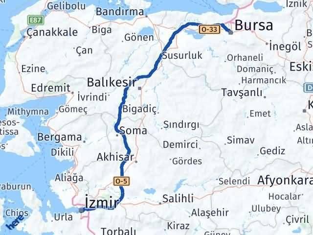 İzmir Konak   Bursa Arası Kaç Km? Arası Kaç Km Saat? Nerede Yol Haritası Yakıt, Rota ve Mesafe Hesaplama