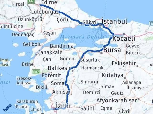 İzmir Konak   Edirne Arası Kaç Km? Arası Kaç Km Saat? Nerede Yol Haritası Yakıt, Rota ve Mesafe Hesaplama