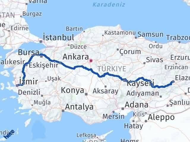 İzmir Konak   Elazığ Arası Kaç Km? Arası Kaç Km Saat? Nerede Yol Haritası Yakıt, Rota ve Mesafe Hesaplama
