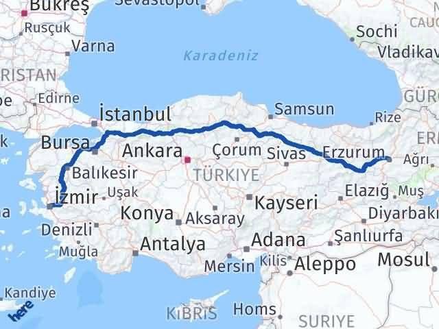 İzmir Konak   Erzurum Arası Kaç Km? Arası Kaç Km Saat? Nerede Yol Haritası Yakıt, Rota ve Mesafe Hesaplama