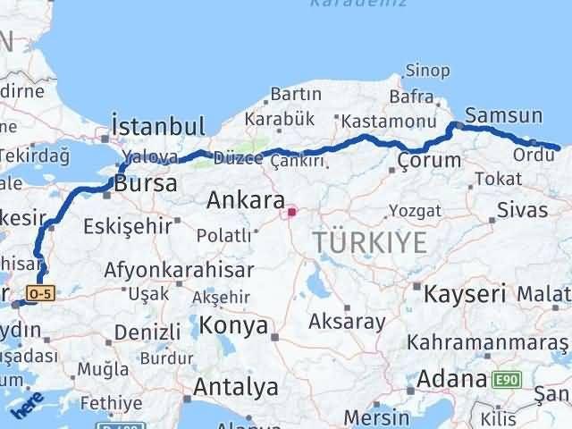 İzmir Konak   Giresun Arası Kaç Km? Arası Kaç Km Saat? Nerede Yol Haritası Yakıt, Rota ve Mesafe Hesaplama