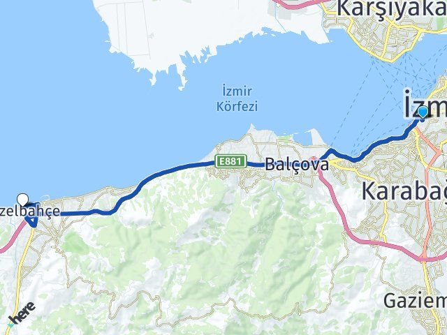 İzmir Konak Güzelbahçe Arası Kaç Km? Arası Kaç Km Saat? Nerede Yol Haritası Yakıt, Rota ve Mesafe Hesaplama