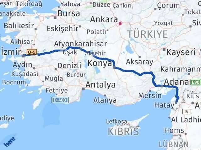 İzmir Konak   Hatay Arası Kaç Km? Arası Kaç Km Saat? Nerede Yol Haritası Yakıt, Rota ve Mesafe Hesaplama