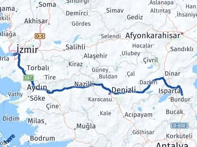 İzmir Konak   Isparta Arası Kaç Km? Arası Kaç Km Saat? Nerede Yol Haritası Yakıt, Rota ve Mesafe Hesaplama