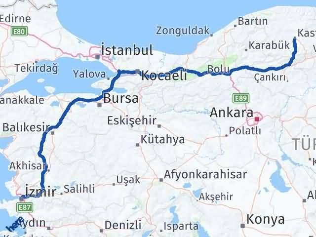 İzmir Konak   Kastamonu Arası Kaç Km? Arası Kaç Km Saat? Nerede Yol Haritası Yakıt, Rota ve Mesafe Hesaplama