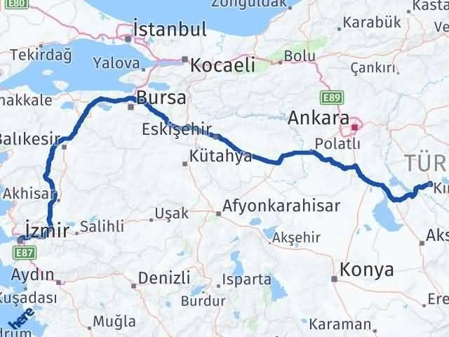 İzmir Konak   Kırşehir Arası Kaç Km? Arası Kaç Km Saat? Nerede Yol Haritası Yakıt, Rota ve Mesafe Hesaplama