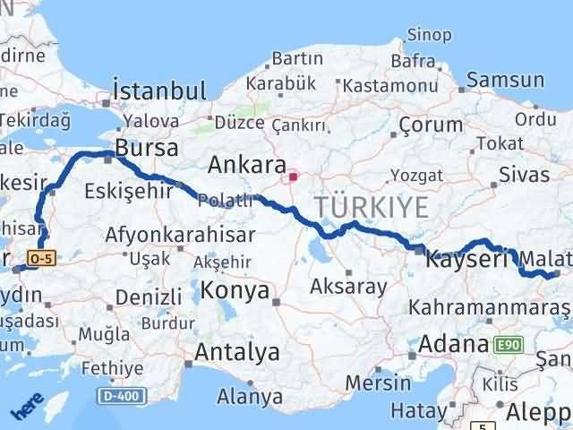 İzmir Konak   Malatya Arası Kaç Km? Arası Kaç Km Saat? Nerede Yol Haritası Yakıt, Rota ve Mesafe Hesaplama