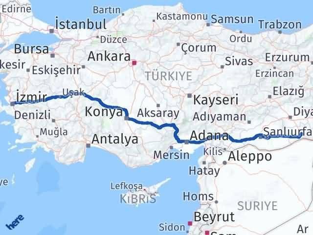 İzmir Konak   Mardin Arası Kaç Km? Arası Kaç Km Saat? Nerede Yol Haritası Yakıt, Rota ve Mesafe Hesaplama
