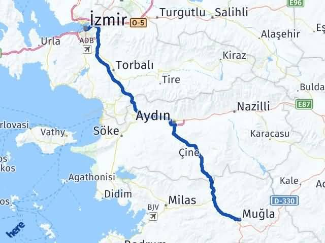 İzmir Konak   Muğla Arası Kaç Km? Arası Kaç Km Saat? Nerede Yol Haritası Yakıt, Rota ve Mesafe Hesaplama