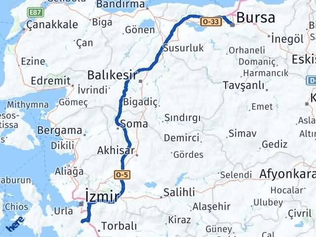 İzmir Menderes   Bursa Arası Kaç Km? Arası Kaç Km Saat? Nerede Yol Haritası Yakıt, Rota ve Mesafe Hesaplama