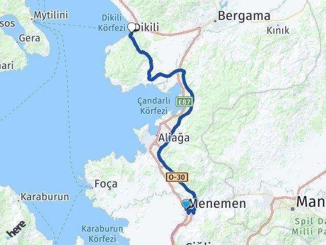 İzmir Menemen Dikili Arası Kaç Km? Arası Kaç Km Saat? Nerede Yol Haritası Yakıt, Rota ve Mesafe Hesaplama