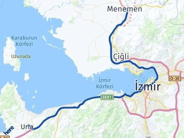 İzmir Menemen Urla Arası Kaç Km? Arası Kaç Km Saat? Nerede Yol Haritası Yakıt, Rota ve Mesafe Hesaplama