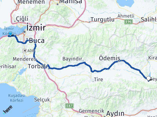 İzmir Narlıdere Beydağ Arası Kaç Km? Arası Kaç Km Saat? Nerede Yol Haritası Yakıt, Rota ve Mesafe Hesaplama