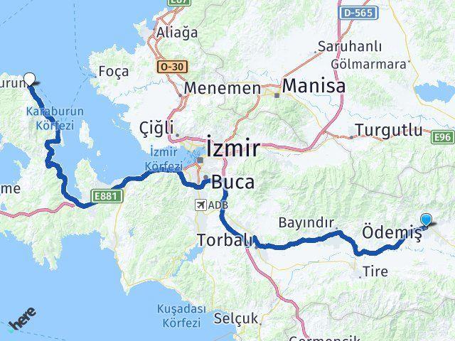İzmir Ödemiş Karaburun Arası Kaç Km? Arası Kaç Km Saat? Nerede Yol Haritası Yakıt, Rota ve Mesafe Hesaplama