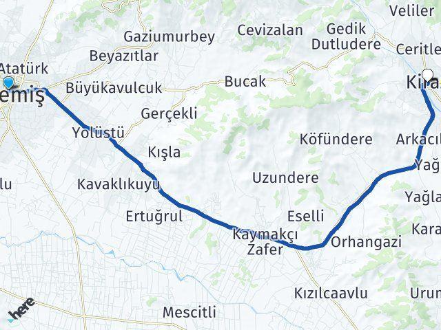 İzmir Ödemiş Kiraz Arası Kaç Km? Arası Kaç Km Saat? Nerede Yol Haritası Yakıt, Rota ve Mesafe Hesaplama