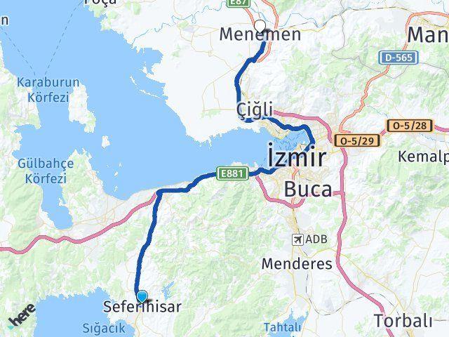 İzmir Seferihisar Menemen Arası Kaç Km? Arası Kaç Km Saat? Nerede Yol Haritası Yakıt, Rota ve Mesafe Hesaplama
