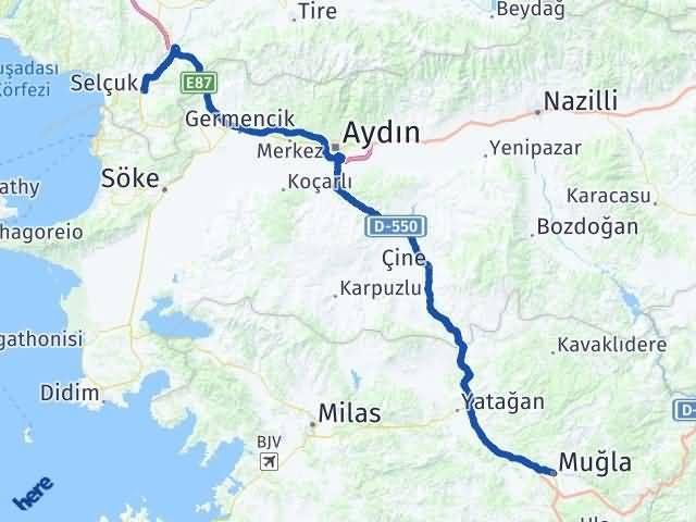 İzmir Selçuk   Muğla Arası Kaç Km? Arası Kaç Km Saat? Nerede Yol Haritası Yakıt, Rota ve Mesafe Hesaplama