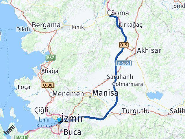 İzmir Soma Manisa Arası Kaç Km? - Km hesaplama Arası Kaç Km Saat? Nerede Yol Haritası Yakıt, Rota ve Mesafe Hesaplama