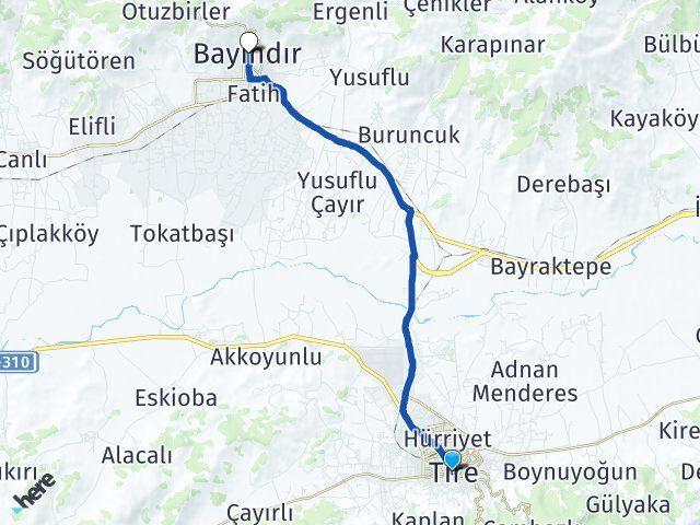 İzmir Tire Bayındır Arası Kaç Km? Arası Kaç Km Saat? Nerede Yol Haritası Yakıt, Rota ve Mesafe Hesaplama
