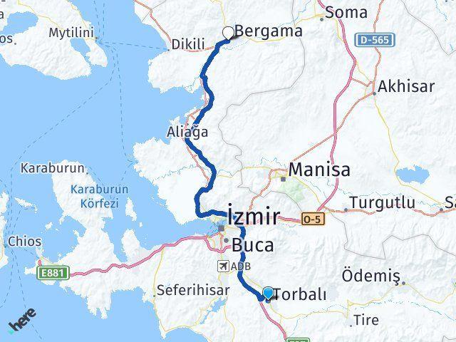 İzmir Torbalı Bergama Arası Kaç Km? Arası Kaç Km Saat? Nerede Yol Haritası Yakıt, Rota ve Mesafe Hesaplama