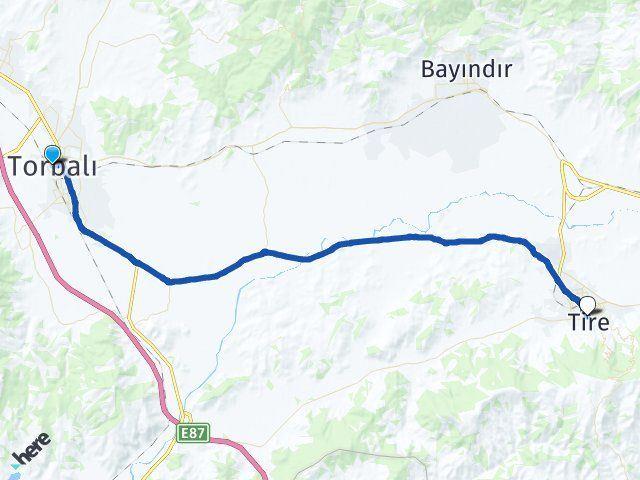 İzmir Torbalı Tire Arası Kaç Km? Arası Kaç Km Saat? Nerede Yol Haritası Yakıt, Rota ve Mesafe Hesaplama