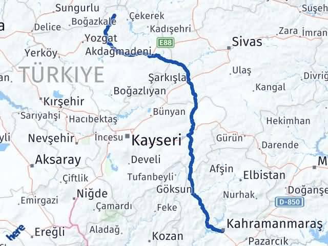 Maraş Aydıncık Yozgat Arası Kaç Km? - Kmhesaplama.com Arası Kaç Km Saat? Nerede Yol Haritası Yakıt, Rota ve Mesafe Hesaplama