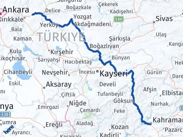 Maraş Balışeyh Kırıkkale Arası Kaç Km? - Kmhesaplama.com Arası Kaç Km Saat? Nerede Yol Haritası Yakıt, Rota ve Mesafe Hesaplama