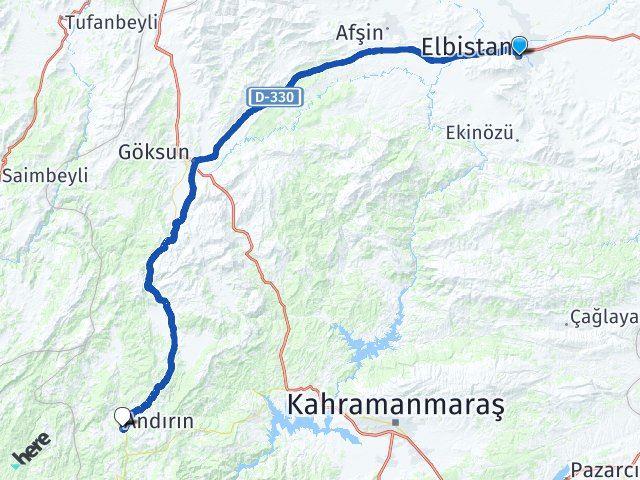 Maraş Elbistan Andırın Arası Kaç Km? Arası Kaç Km Saat? Nerede Yol Haritası Yakıt, Rota ve Mesafe Hesaplama