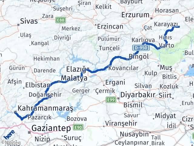Maraş Karayazı Erzurum Arası Kaç Km? - Kmhesaplama.com Arası Kaç Km Saat? Nerede Yol Haritası Yakıt, Rota ve Mesafe Hesaplama
