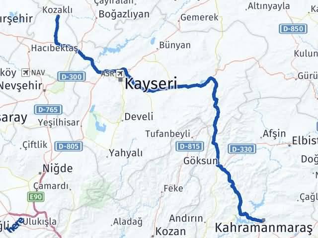 Maraş Kozaklı Nevşehir Arası Kaç Km? - Kmhesaplama.com Arası Kaç Km Saat? Nerede Yol Haritası Yakıt, Rota ve Mesafe Hesaplama