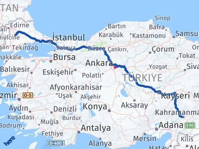 Maraş Pehlivanköy Kırklareli Arası Kaç Km? Arası Kaç Km Saat? Nerede Yol Haritası Yakıt, Rota ve Mesafe Hesaplama