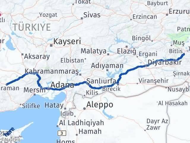 Karaman Bitlis Arası Kaç Km - Kaç Saat? Arası Kaç Km Saat? Nerede Yol Haritası Yakıt, Rota ve Mesafe Hesaplama