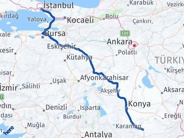 Karaman İstanbul Arası Kaç Km - Kaç Saat? Arası Kaç Km Saat? Nerede Yol Haritası Yakıt, Rota ve Mesafe Hesaplama