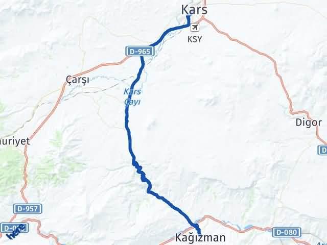 Kars Kağızman Arası Kaç Km? Yol Haritası - Km Hesaplama Arası Kaç Km Saat? Nerede Yol Haritası Yakıt, Rota ve Mesafe Hesaplama