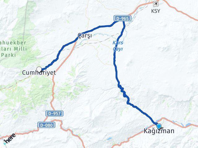 Kars Kağızman Sarıkamış Arası Kaç Km? Arası Kaç Km Saat? Nerede Yol Haritası Yakıt, Rota ve Mesafe Hesaplama