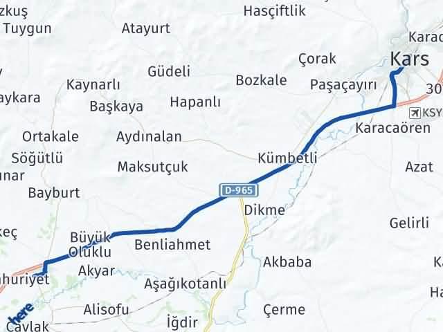 Kars Selim Arası Kaç Km? Yol Haritası - Km Hesaplama Arası Kaç Km Saat? Nerede Yol Haritası Yakıt, Rota ve Mesafe Hesaplama