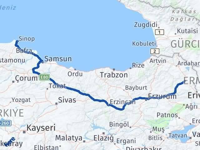 Kars Sinop Arası Kaç Km - Kaç Saat? Arası Kaç Km Saat? Nerede Yol Haritası Yakıt, Rota ve Mesafe Hesaplama