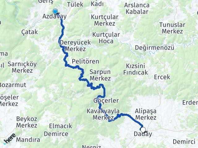 Kastamonu Azdavay Daday Arası Kaç Km? Arası Kaç Km Saat? Nerede Yol Haritası Yakıt, Rota ve Mesafe Hesaplama