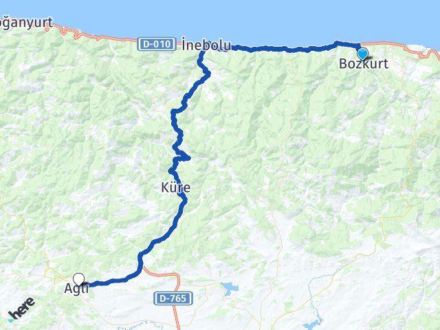 Bozkurt Kastamonu Ağlı Arası Kaç Km? Arası Kaç Km Saat? Nerede Yol Haritası Yakıt, Rota ve Mesafe Hesaplama