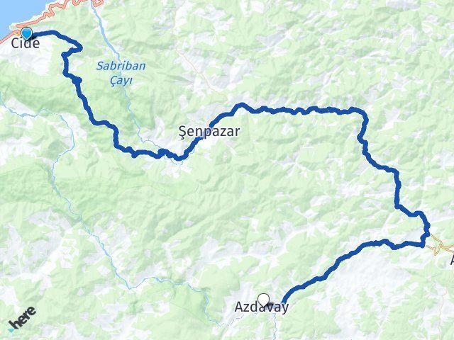 Kastamonu Cide Azdavay Arası Kaç Km? Arası Kaç Km Saat? Nerede Yol Haritası Yakıt, Rota ve Mesafe Hesaplama
