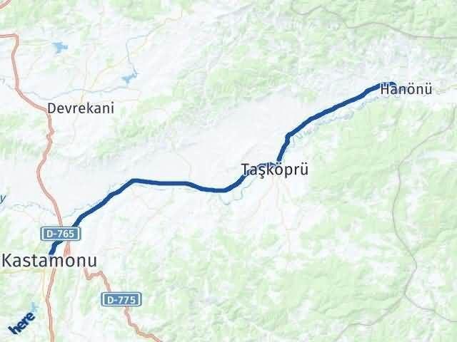 Kastamonu Hanönü Arası Kaç Km? Yol Haritası - Km Hesaplama Arası Kaç Km Saat? Nerede Yol Haritası Yakıt, Rota ve Mesafe Hesaplama