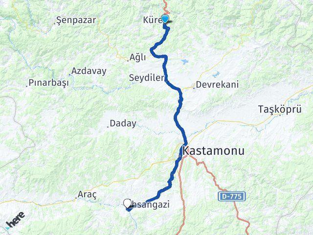Kastamonu Küre İhsangazi Arası Kaç Km? Arası Kaç Km Saat? Nerede Yol Haritası Yakıt, Rota ve Mesafe Hesaplama