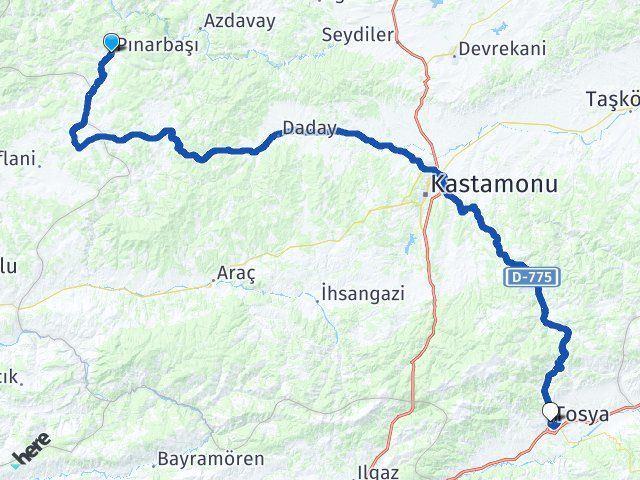 Pınarbaşı Kastamonu Tosya Arası Kaç Km? Arası Kaç Km Saat? Nerede Yol Haritası Yakıt, Rota ve Mesafe Hesaplama