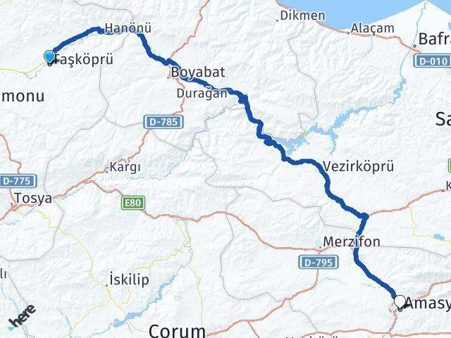 Kastamonu Taşköprü Amasya Arası Kaç Km? Arası Kaç Km Saat? Nerede Yol Haritası Yakıt, Rota ve Mesafe Hesaplama