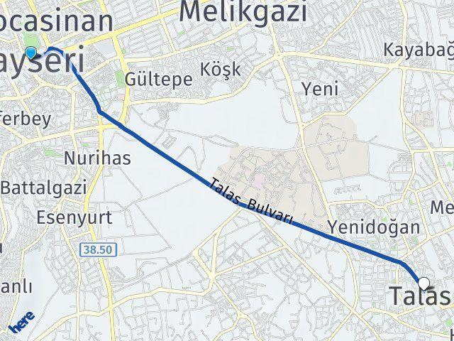 Kayseri Talas Arası Kaç Km? Yol Haritası - Km Hesaplama Arası Kaç Km Saat? Nerede Yol Haritası Yakıt, Rota ve Mesafe Hesaplama