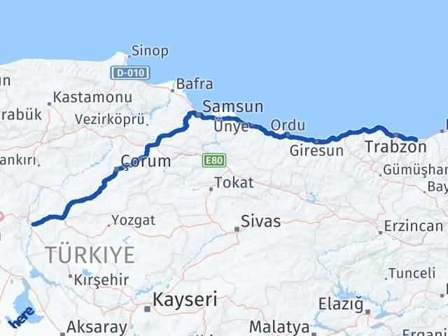 Kırıkkale Araklı Trabzon Arası Kaç Km? - Kmhesaplama.com Arası Kaç Km Saat? Nerede Yol Haritası Yakıt, Rota ve Mesafe Hesaplama