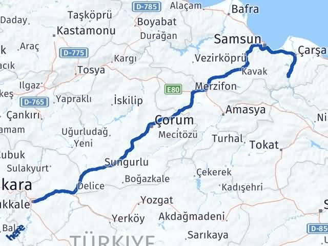 Kırıkkale Ayvacık Samsun Arası Kaç Km? - Kmhesaplama.com Arası Kaç Km Saat? Nerede Yol Haritası Yakıt, Rota ve Mesafe Hesaplama