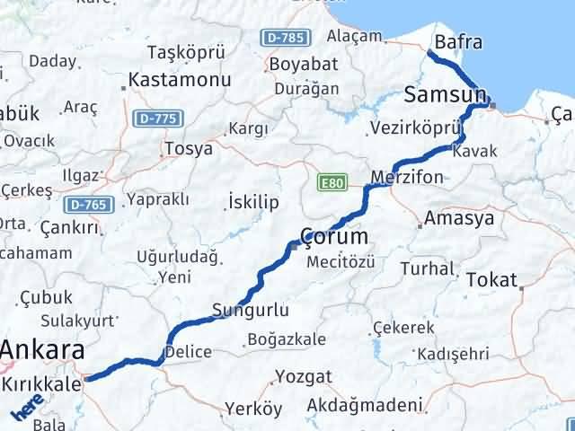 Kırıkkale Bafra Samsun Arası Kaç Km? - Kmhesaplama.com Arası Kaç Km Saat? Nerede Yol Haritası Yakıt, Rota ve Mesafe Hesaplama