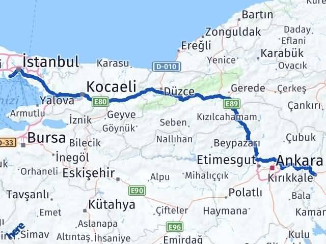 Kırıkkale Bahçelievler İstanbul Arası Kaç Km? Arası Kaç Km Saat? Nerede Yol Haritası Yakıt, Rota ve Mesafe Hesaplama